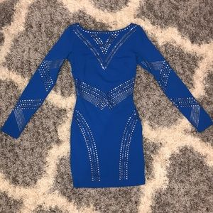 Bebe Blue Long Sleeve Dress